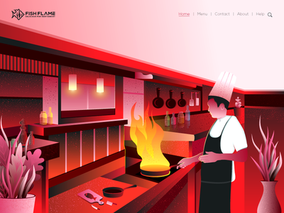 Restaurant Illustration fish chef cook safe pan fire kitchen leaf wallpaper hero image branding red vector gradient logo design color illustration landing page illustration illustration restaurant