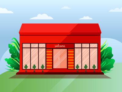 Storefront Illustration red glass restaraunt shop house natural weather jungle hero image vector leaf forest ui design color illustration illustration storefront