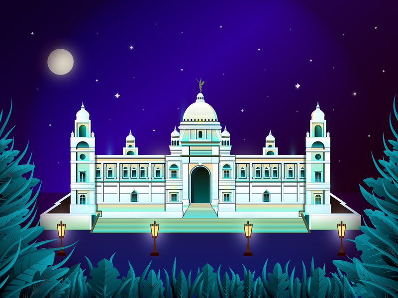 Victoria Memorial Illustration historical place victoria monument logo flowers museum west bengal building india kolkata natural hero image ui landing page illustration vector leaf forest victoria memorial victoria color illustration illustration