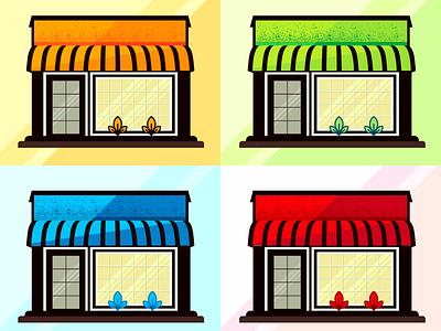 Storefront illustration for e-commerce environment cafe hero image nice design buy glass color ecommerce red blue green orange ui restaraunt shop house storefront vector illustration
