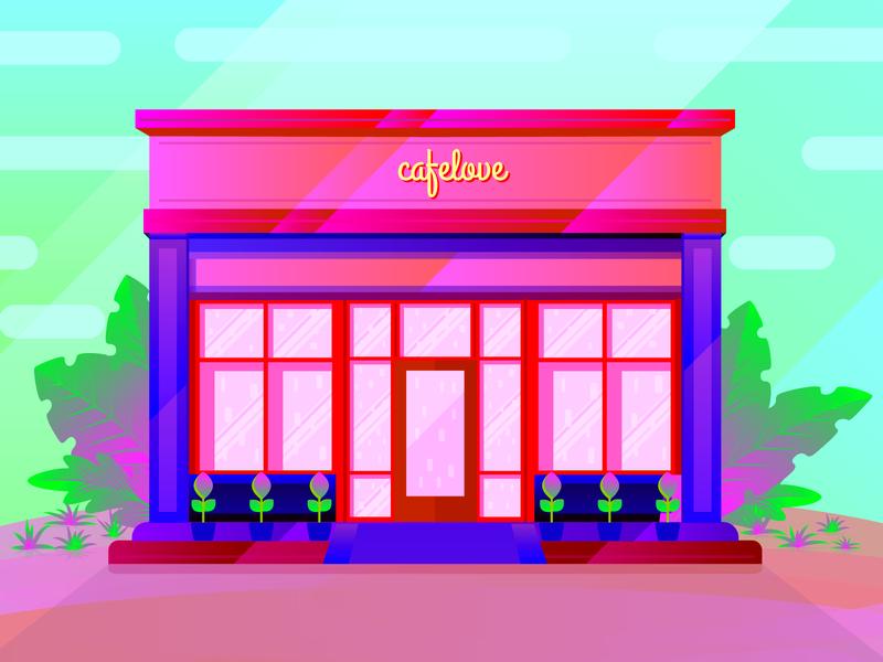 Storefront illustration 3 shop restaurant pink red natural ui wallpaper hero image design landing page illustration storefront forest vector jungle color illustration illustration environment ecommerce