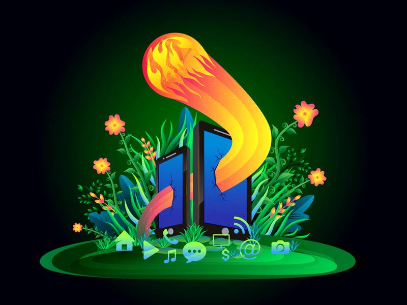 Social Fire 2d flower smart phone mobile hero image green gradient natural ui landing page illustration leaf vector illustration forest fire