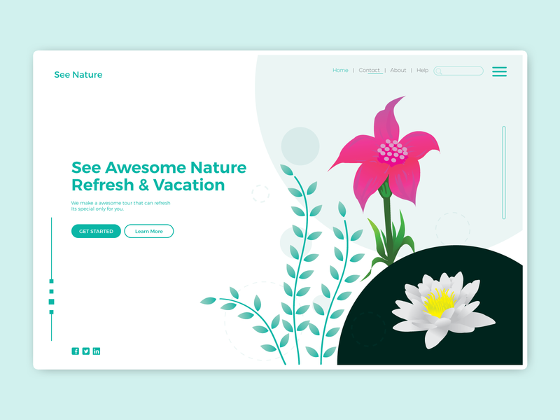 Landing Page apps lily flower ux natural jungle tour landingpage wallpaper ui leaf forest vector landing page illustration illustration