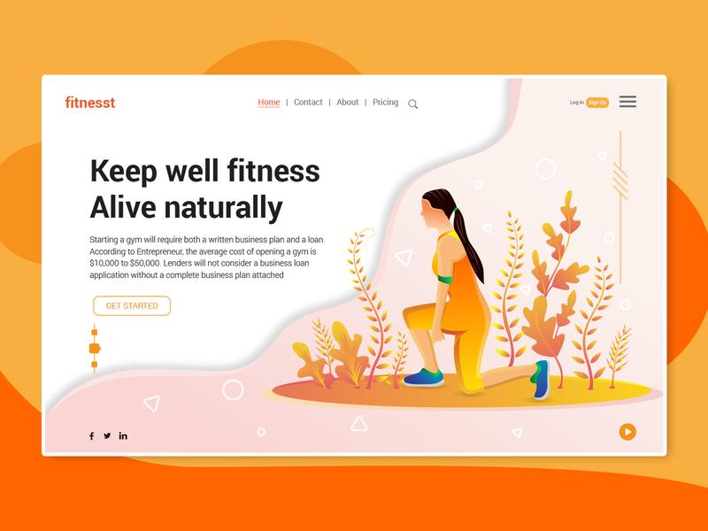 Fitness and Gym Landing Page orange ux natural ui hero image leaf landing page illustration forest illustration apps fitness gym landing page