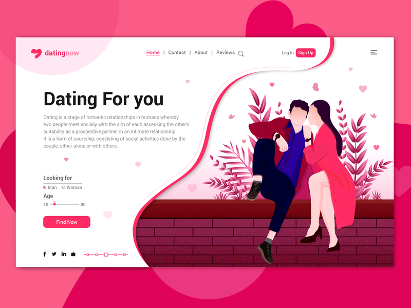 Dating for you Landing Page ux partner design landing page couple apps meet romantic dating color illustration jungle hero image vector leaf ui illustration landing page illustration