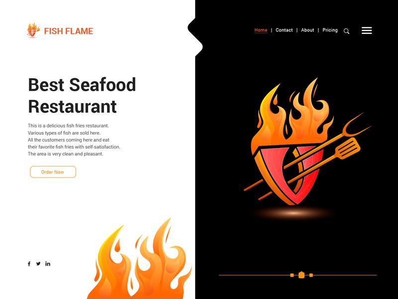 Best Seafood Restaurant ui flame fire logo design orange restaurant seafood fish gradient illustration design logo color illustration landing page illustration