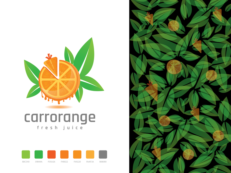 Carrot and Orange Fresh Juice Logo carrots food shop food fresh juice orange carrot design color illustration leaf vector illustration branding logo