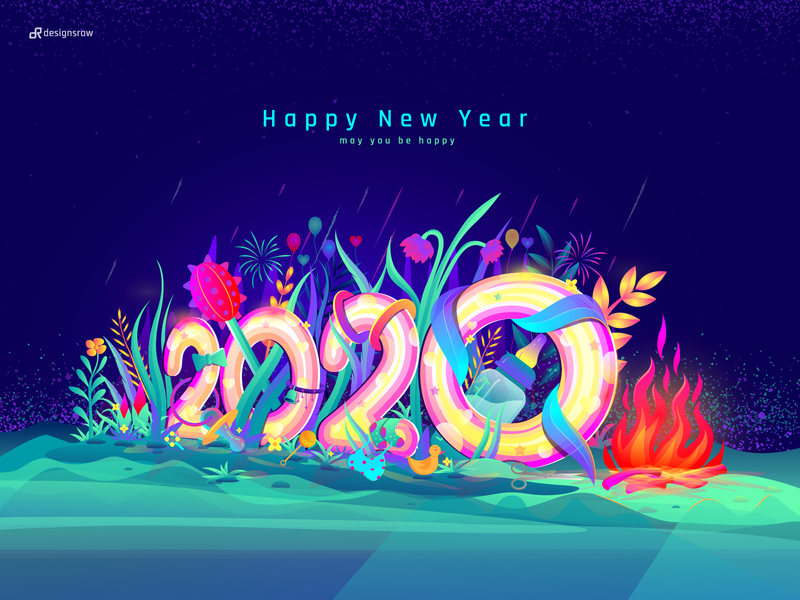 Happy New Year 2020 new wish gradient vector landing page illustration jungle hero image ui design 2020 trend hand sketch fire baby happy new year new year 2020 forest leaf color illustration illustration