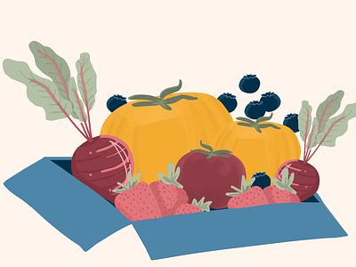 Produce Illustration art illustration flat design branding produce agriculture veggies fruits
