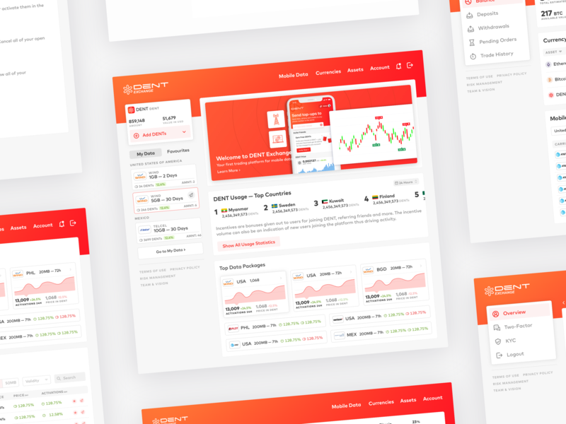 DENT Cryptocurrency Exchange exchange hodl ui mobile data fintech finance crypto trading web app dent bitcoin crypto blockchain