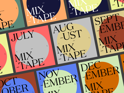 Mixtapes / Monthly music grid vector typography design
