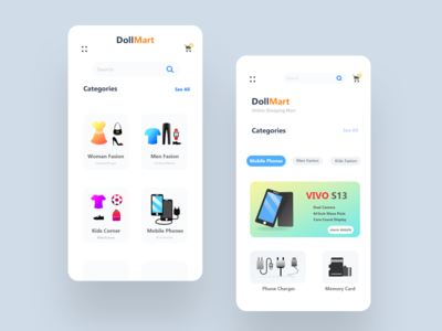 Store App Design | DollMart ui sell buy shop market mart phone top best most new photoshop vector scratch screen howto app concept idea app.design