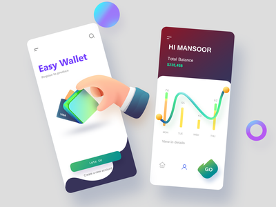 EASY Wallet App Screen1 illustration fonts vector colors art concept idea screen app