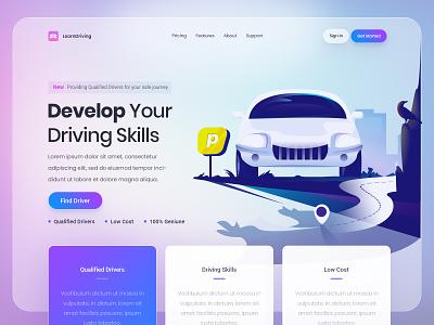 Driveby uiux web app download buy trend viral best top latest new illustration car