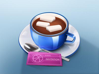 Invitation invitation chocolate cup spoon cubes card