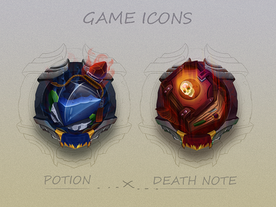 Game Icons art digital painted colored note death potion concept sketch icons game