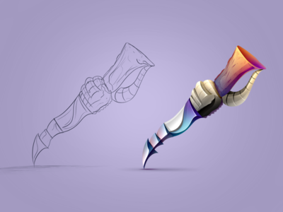 Game Item Knife #1 android shaped wooden knife steel painted colored sketch concept idea game icon