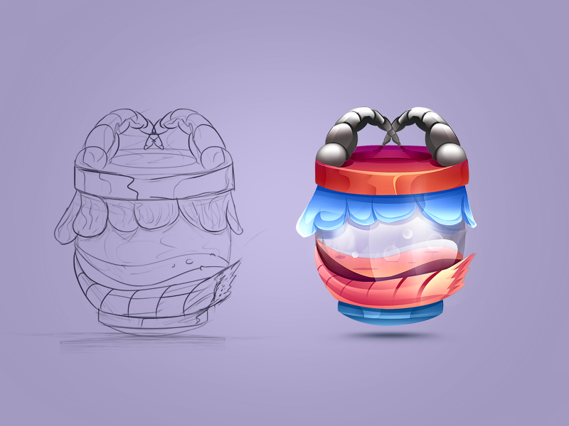 Game Item Potion Jar#1 android shaped wooden jar potion painted colored sketch concept idea game icon