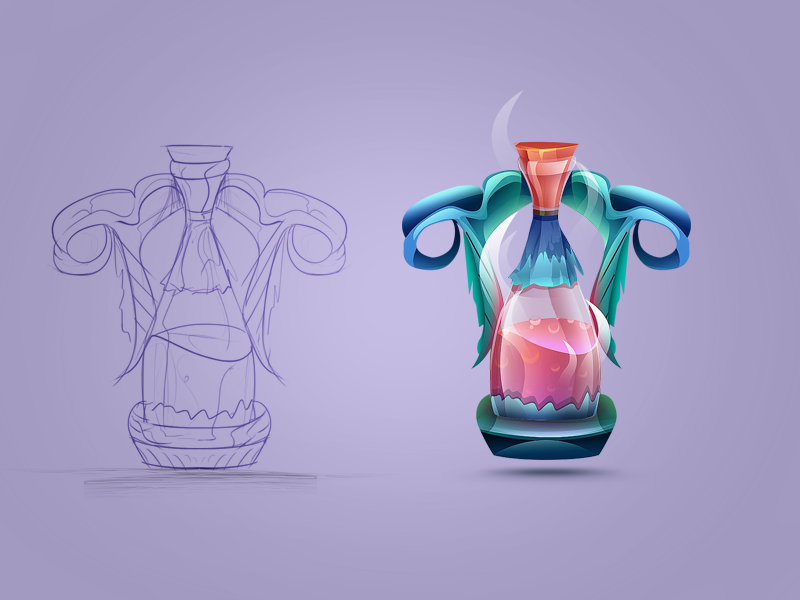Game Item Potion Jar#2 android shaped wooden jar potion painted colored sketch concept idea game icon