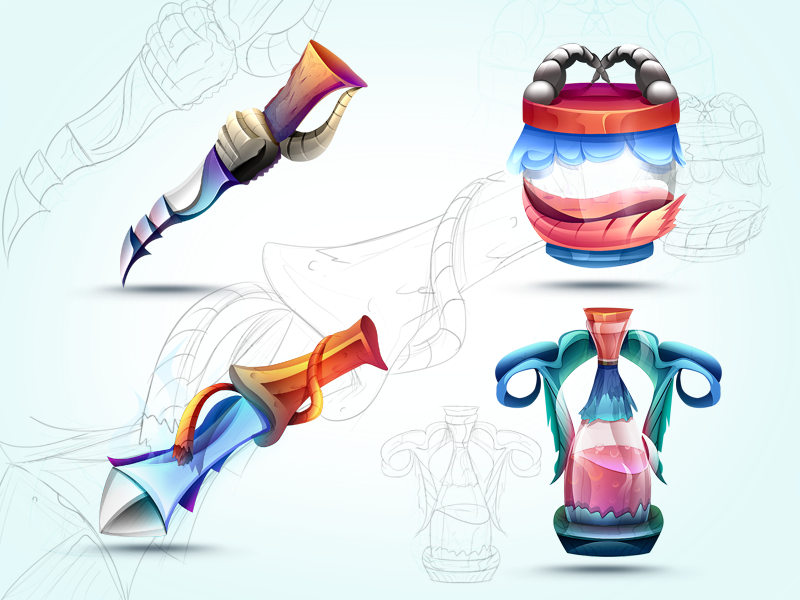 Game Icons set preview! android shaped wooden jar potion painted colored sketch concept idea game icon