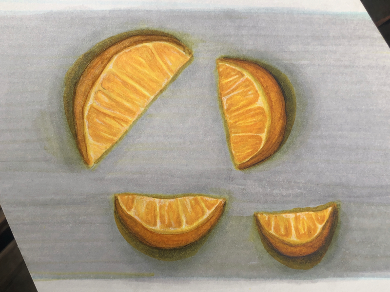 Orange you fun! draw drawing greys grays yellows oranges fruit markers marker copic illustration