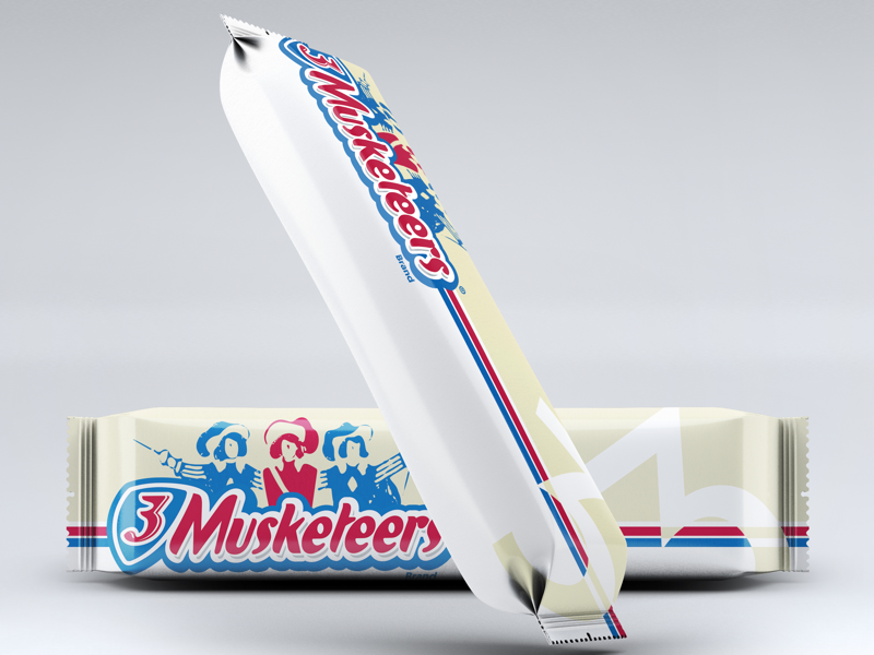 3 Musketeers Wrapper photoshop candy warmup dribbler graphicdesign graphic design label packaging 3 musketeers candy bar dribbleweeklywarmup