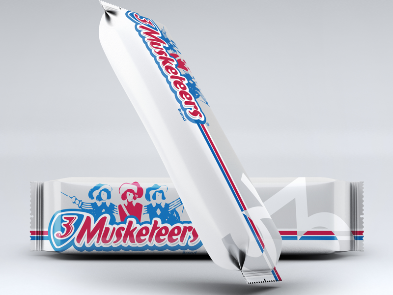 3 Musketeers Remix graphicdesign graphic design 3 musketeers chocolate photoshop label packaging wrapper candy candy bar dribbleweeklywarmup