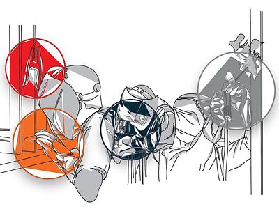 Illustrated Entry Wall Artwork concepts conceptsapp adobe illustrator industrial welding vectorart vector digital art art digital design