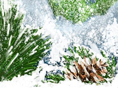Holiday Feels snow scene holiday digital painting painting digital art vector fresco