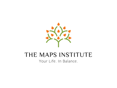 the MAPS Institute balance green mediation wellness surrender purpose activation mindfulness nature abstact vector brand identity logo illustration branding icon design