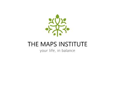 The MAPS institute logo concept balance life leaves green tree nature surrender purpose activation mediation care brand identity illustration design logo branding icon