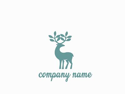 Deer modern logo organic design branding logo logo design illustration deer leaf icon vector abstact care environment
