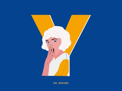 Y - Yawn typography creative visual design flat vector minimal illustration girl character yawn 36daysofype25 36daysoftype