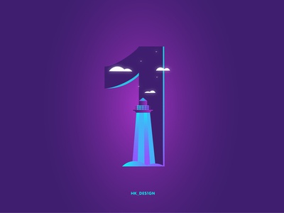 Numbers - 1 visual design creative typography minimal illustration gradient lighthouse tower birds night sky number 1 36daysoftype28 36daysoftype