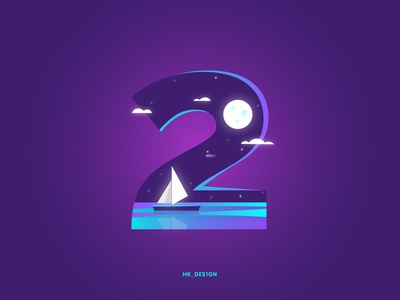 Numbers - 2 gradient typography creative minimal illustration boat reflection water clouds night sky moon numbers 2 36daysoftype29 36daysoftype