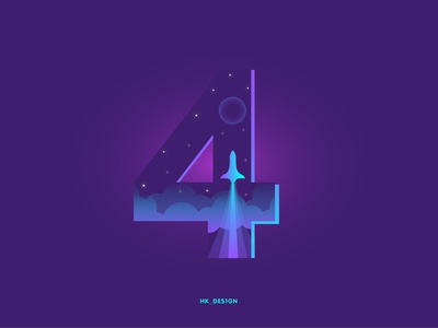Numbers - 4 space nightsky rocket gradient typography visual design graphics minimal illustration creative 36daysoftype31 4 36daysoftype