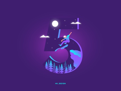 Numbers - 5 visual design creative minimal illustration typography gradient tree mountain skateboard skating clouds night sky moon 36daysoftype32 36daysoftype 5