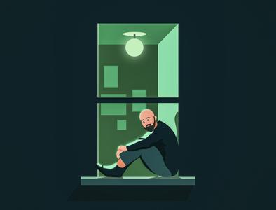 Window Stories [1] flat visual design creative vector minimal illustration light chill character moods nightlife window