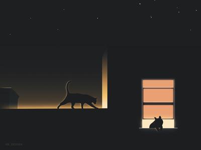 Window Stories [2] fog stars graphics visual design flat vector rim light windows silouette minimal illustration dog pet cat