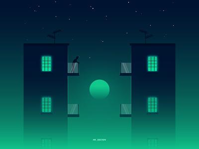 Window Stories [3] visual design vector creative minimal peace balcony window illustration illsutrator moon stars night sky buildings alone