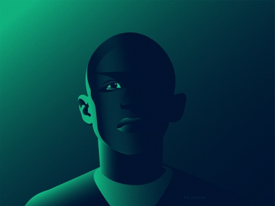 Be Humble visual design green sci-fi rim character eyes lightning neon colors menu gradient creative illustration portrait illustration portrait