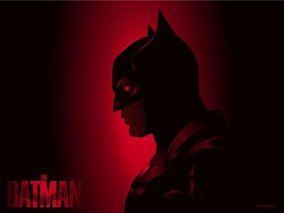 The Batman bat dc comics batsuit lighting vengeance black red flat vector gradient visual design creative minimal illustration dc poster design poster batman