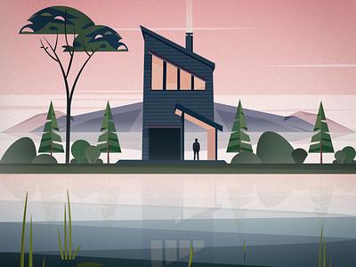 Cabin nature bush illustrator design landscape mountain tree lake creative vector flat visual design illustration stylized minimal cabin