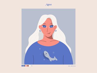 Aqua typography flat vector portrait illustration cool water whale aqua minimal character character design illustration