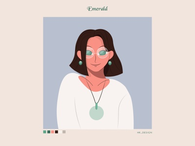 Emerald portrait green emerald visual design simple illustration flat typography character design vector minimal illustration