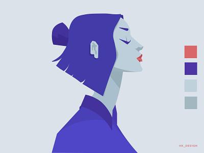 Elegant illustrations illustration art character design design character flat visual design creative vector illustration minimal accent profile girl cool palette elegant