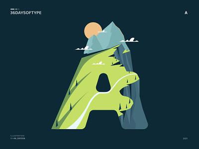 A - 36daysoftype illustrations graphic design logo illustrator 2021 vector flat typography visual design minimal nature mountains 36daysoftype illustration