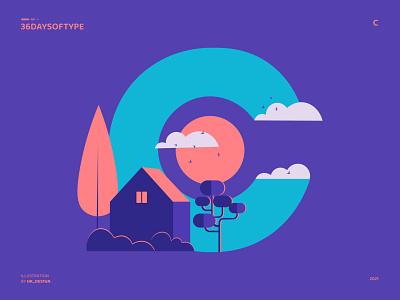 C - Cabin birds sun clouds tree cabin flat vector 36daysoftype typography visual design creative minimal illustration