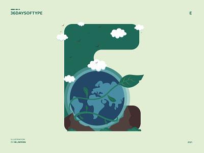 E - Earth planet earth simple flat 36daysoftype typography vector minimal creative visual design earth illustration illustrator