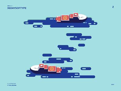 Z - Shape letter ice flat type design graphic design visual design 36daysoftype ocean vector art z ship typography minimal illustration